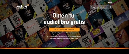 Pagina de Audible
