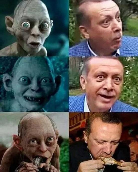 Comparativo de imágenes entre Gollum y Erdogan